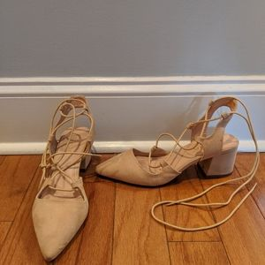 Liliana Nude suede block heels wrap around ankle